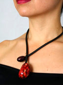 Red / White Tagua Choker - Chunky Necklace, Statement Necklace Red/ White Chocker