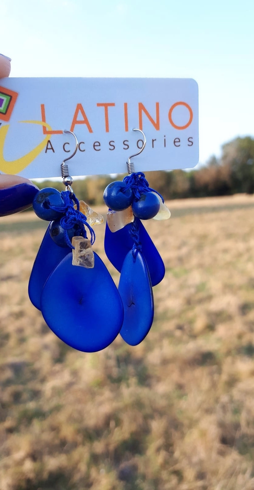 Royal Blue Long Tagua Earrings