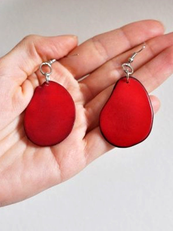 Tagua Earring - Red