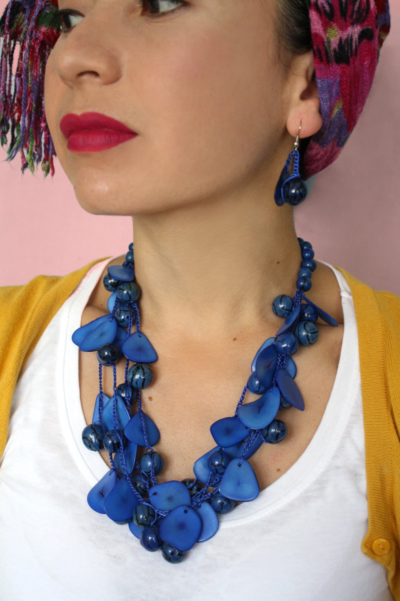 Blue Chunky Tagua Necklace