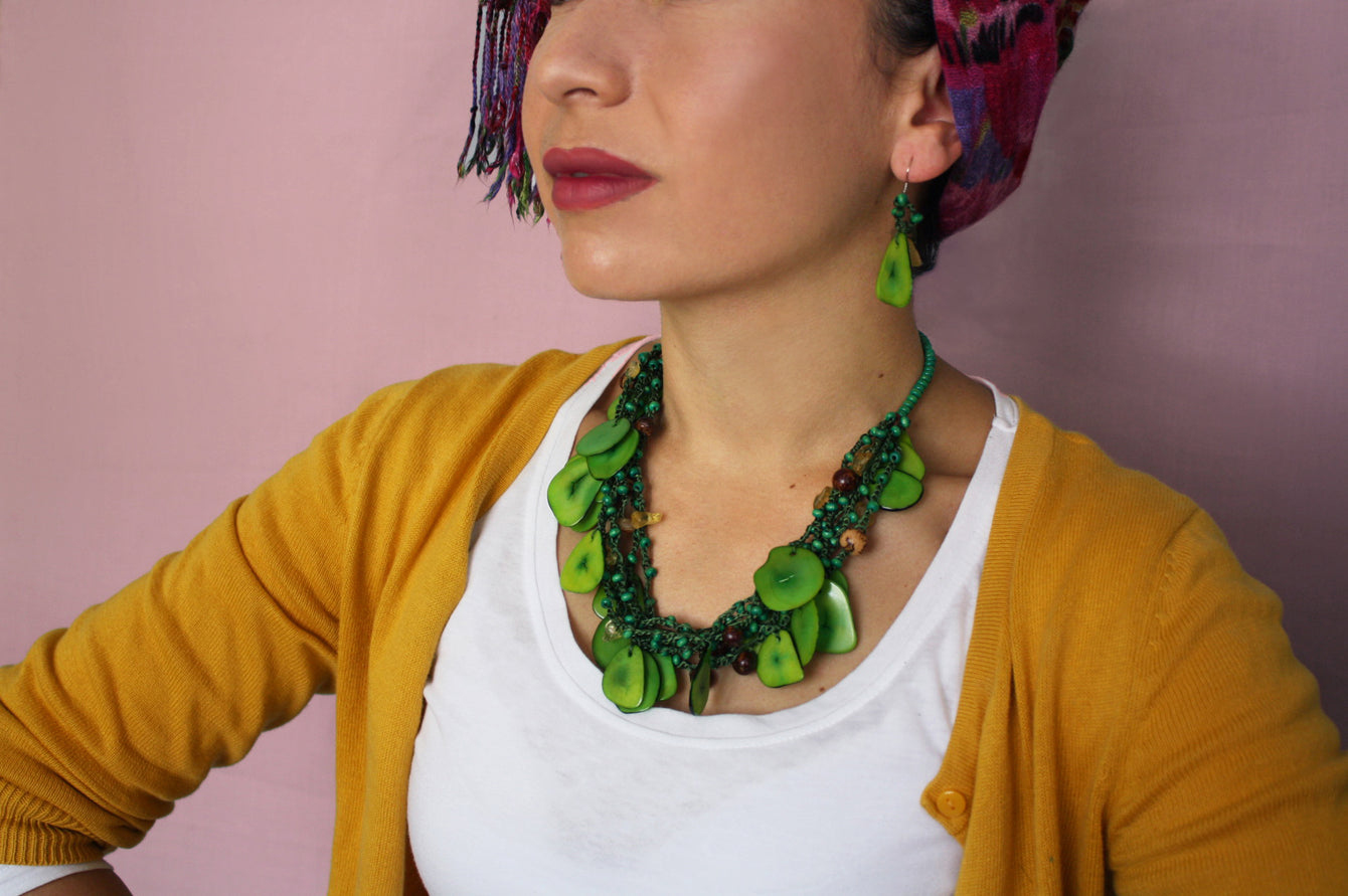 Green Chunky Necklace, Green Statement Necklace, Green Tagua Necklace