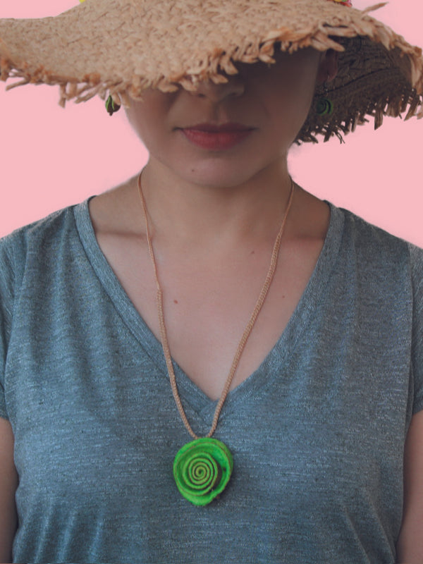 Green Rose Necklace - Minimalist Necklace- Orange Peel Necklace