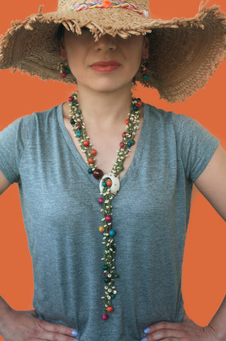 Multicolour Chunky Long Necklace - Women Statement Necklace