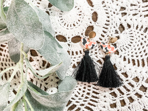 Pink & Black Mix Tassel Earrings