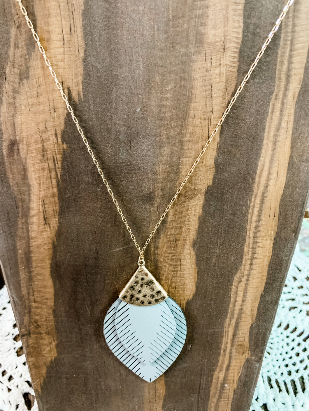 Gray Leather Pendant Necklace