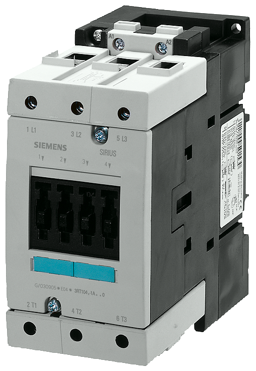 Power contactor, AC-3 95 A, 45 kW / 400 V 480 V AC, 60 Hz 3-pole,- 3RT1046-1AV60