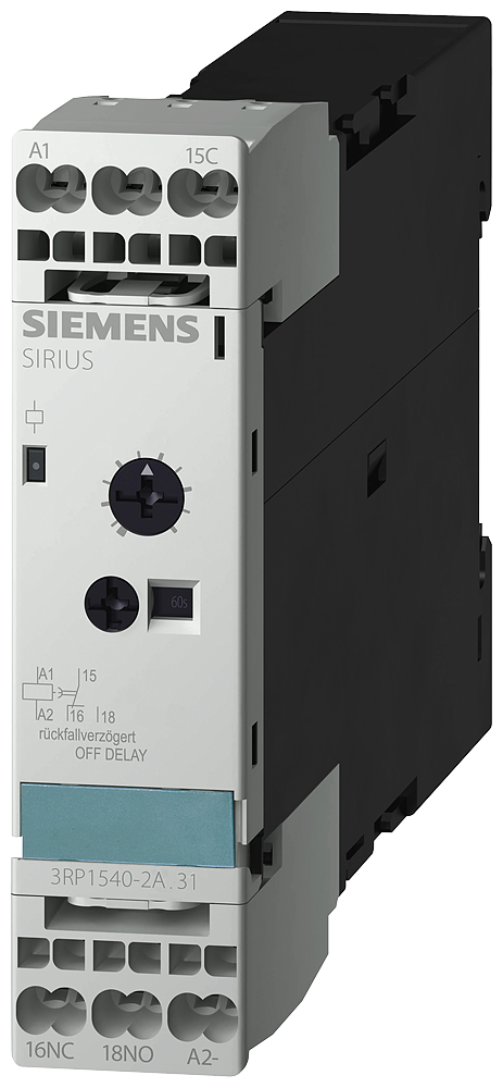 Timing relay, electronic OFF-delay without auxiliary voltage, 1- 3RP1540-2AW31