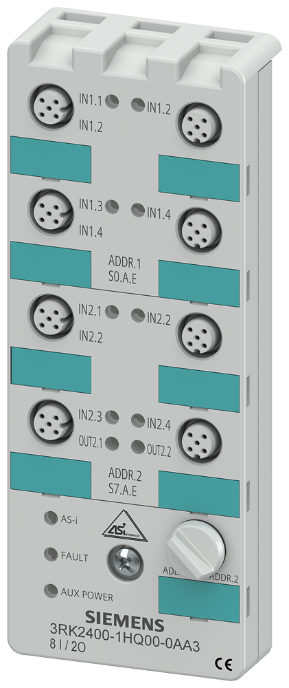 AS-i compact module K60, A/B slave, digital, 8 I/2 O, IP67, 3x2- 3RK2400-1HQ00-0AA3