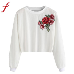 Feitong Embroidery Blouse Vantage Winter Autumn Blouse for Womens Rose Applique O-Neck Long Sleeve Pullover Crop Tops Blouse - Unique Craft World & Dist