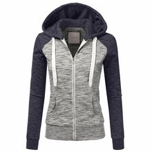 Load image into Gallery viewer, Women Autumn Casual Long Sleeve Thin Zip Contrast Hood Hoodies Jacket Coat