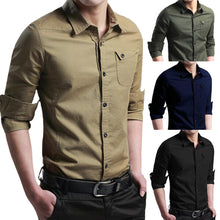 Load image into Gallery viewer, Mens Autumn Casual Military Cargo Slim Button Long Sleeve Dress Shirt Top Blouse