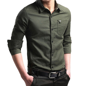 Mens Autumn Casual Military Cargo Slim Button Long Sleeve Dress Shirt Top Blouse