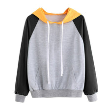 Load image into Gallery viewer, Womens Long Sleeve Hoodie Sweatshirt Jumper Hooded Pullover Patchwork Top Blouse
