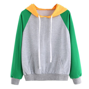 Womens Long Sleeve Hoodie Sweatshirt Jumper Hooded Pullover Patchwork Top Blouse