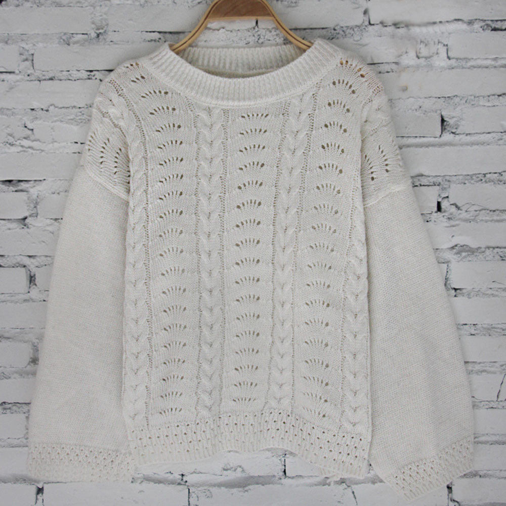 Womens Knitted Long Sleeve O Neck Hollow Out Sweater Ladies Casual Knitwear Top