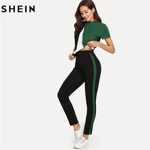 SHEIN Sporting Pullover & Pants Set Casual Round Collar Short Sleeve Twopiece Women Summer Two Piece Set Top and Pants