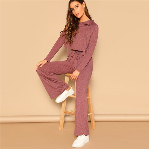 SHEIN Drawstring Crop Hoodie And Pants Set 2 Piece Outfits For Women Spring Casual Long Sleeve Crop Top Wide Leg Pants Sets