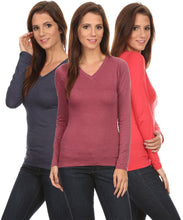 Load image into Gallery viewer, 3 Pack Women's Long Sleeve Shirt V-Neck Slim Fit: BERRY/CORAL/NAVY (1X)