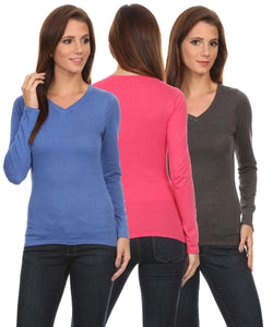 3 Pack Women's Long Sleeve Shirt V-Neck Slim Fit: BERRY/CORAL/NAVY (1X)