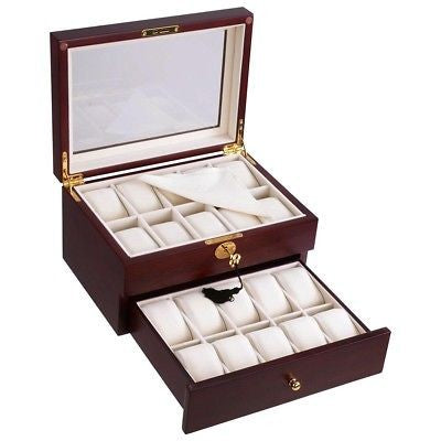 20 Grid Wooden Watch Display Case Box Storage Jewelery Organizer with Drawer - Unique Craft World & Dist