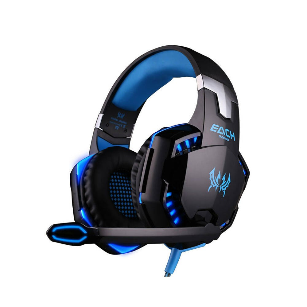3.5mm Gaming Headset MIC LED Headphones Blue G2000B for Laptop PS4 Xbox One 360E - Unique Craft World & Dist