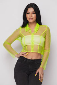 Sheer Neon Button Crop Top