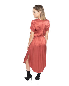 Button Down Satin Dress