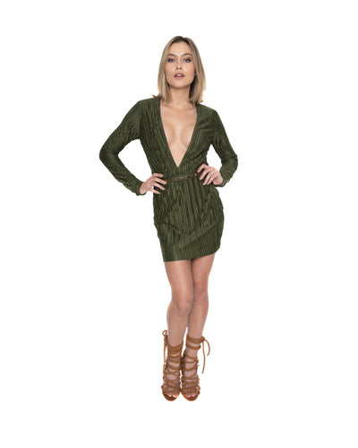 Deep V Olive Mini Dress
