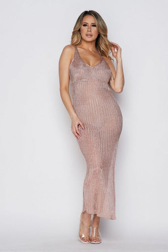 Rene Rose Gold Mesh Dress