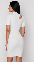 Load image into Gallery viewer, White Mock Neck Mini Dress
