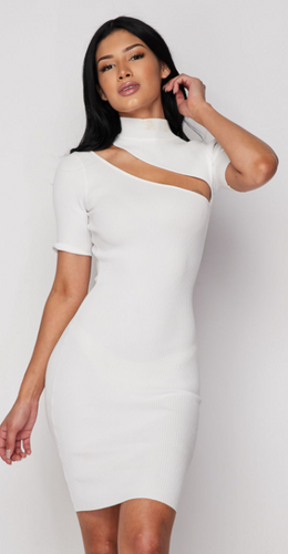 White Mock Neck Mini Dress