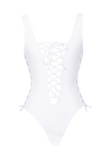 Load image into Gallery viewer, Tie Up White Swimsuit