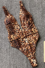 Load image into Gallery viewer, Leopard Deep V Belted One Pice Swimsuit