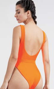 Tangerine One Piece Belted Swimsuit