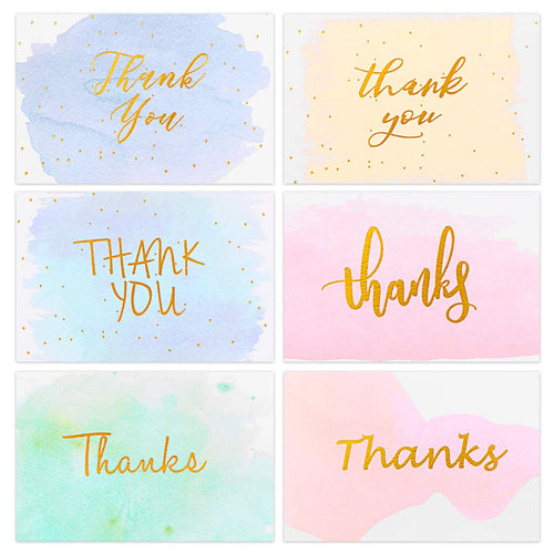 Gold Foiled Watercolor Thank You Cards