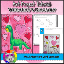 Load image into Gallery viewer, Valentine's Day Art Lesson, Dinosaur