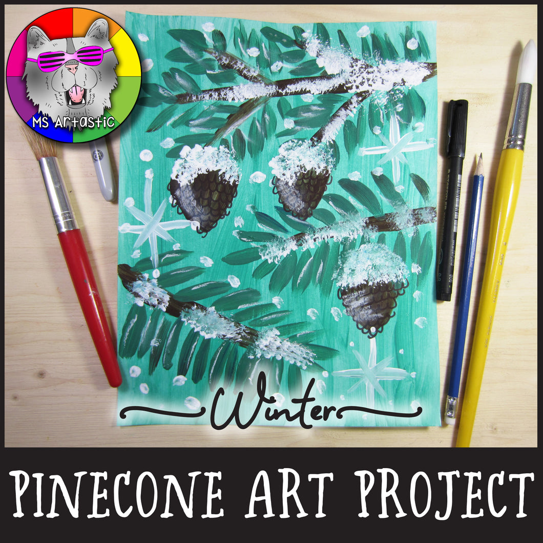 Winter Art Project, Snowy Pinecone Painting