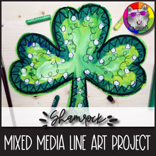 Load image into Gallery viewer, St. Patrick's Day Art Project, Shamrock Line Art, Mixed Media