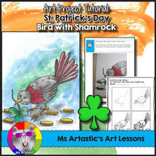 Load image into Gallery viewer, St. Patrick's Day Art Lesson, Bird with Shamrock