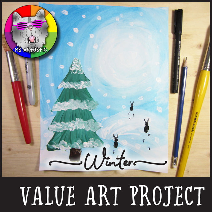 Winter Art Project, Winter Value Painting