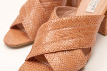 Load image into Gallery viewer, Tracy Snakeskin Heel Sandals Brown