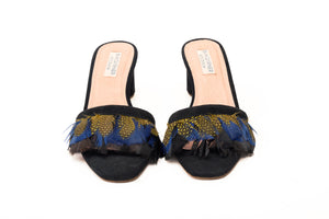 Willow Feather Fringe Sandals Black