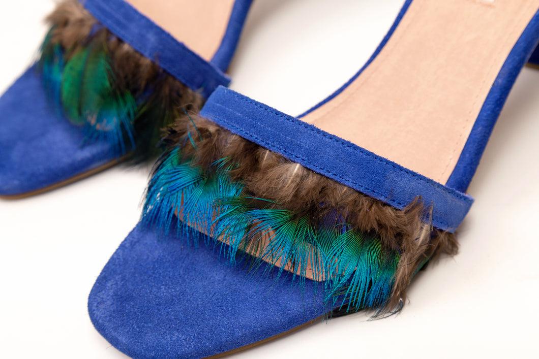 Willow Feather Fringe Sandals Royalblue