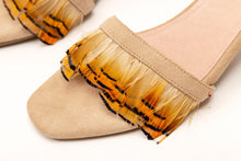 Load image into Gallery viewer, Willow Feather Fringe Sandals Nude