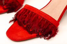 Load image into Gallery viewer, Willow Feather Fringe Sandals Red