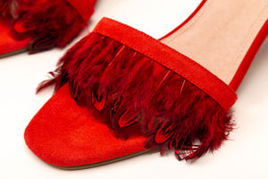 Willow Feather Fringe Sandals Red