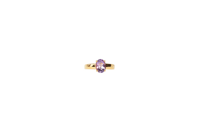 925 Silver Ring Oval-Shaped Amethyst