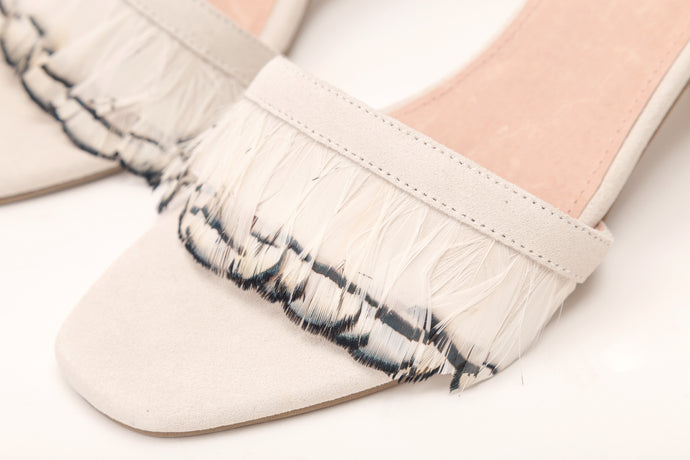 Willow Feather Fringe Sandals White