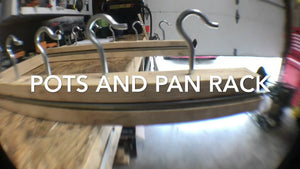 DIY project for a pot and pan hanging rack storage Pots and pan rack, storage, cabinets, DIY, shelving, kitchen, counters, dishes, projects, home, house.