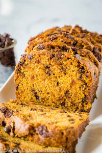 Chocolate Chip Pumpkin Bread – soft and tender pumpkin bread loaded with chocolate chips.  Full of cinnamon and spices and perfect for fall!
